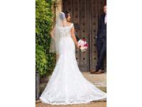 Stunning Mori Lee by Madeline Gardner Lace Wedding Dress with veil. Size 12 (UK)