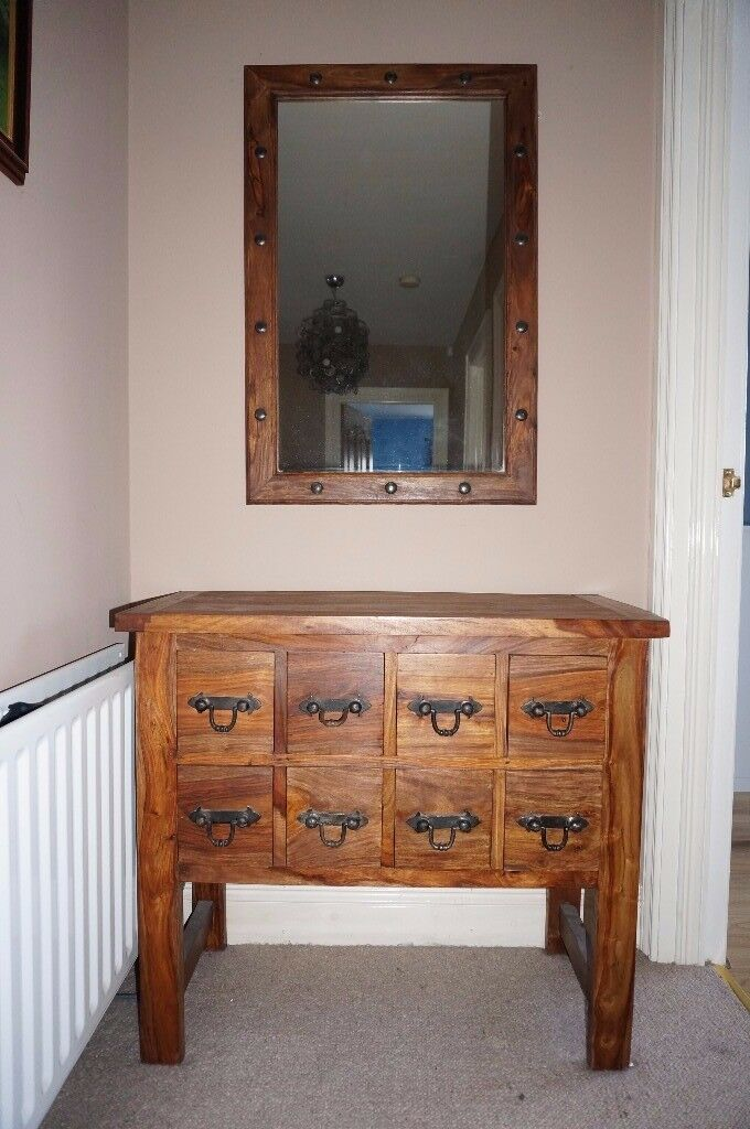 Next Solid oak console table unit with drawers & matching mirror set cabinet coffee chest sideboard