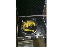 direct drive turntable record deck with flight case and box of house vinyl