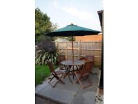 *Reduced* Wooden Patio Dining Set with Umbrella