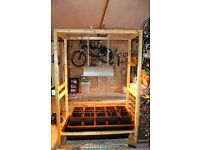 Hydroponics System, including custom made wooden stand. NEVER BEEN USED.