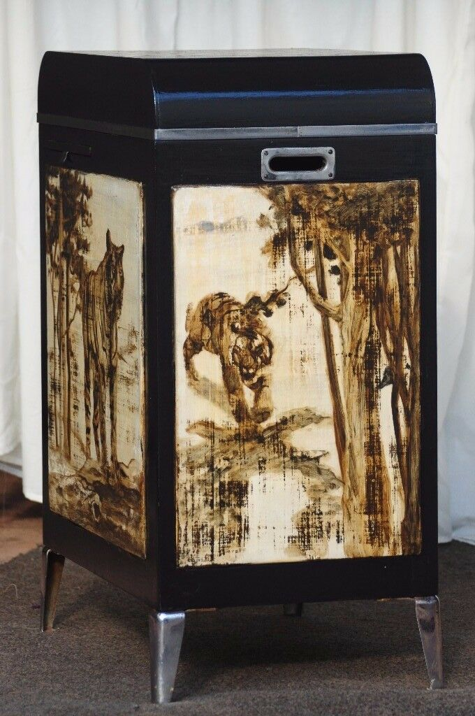 Vintage unique hand painted tiger design storage, drinks cabinet, sewing station unit. WILL DELIVER