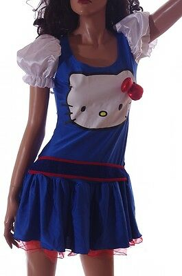 Womens Adult Sanrio Hello Kitty Halloween Party Purim Costume Dress Sm Med NEW ()