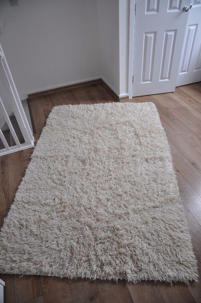 Ikea Vitten Rug High Pile White Handmade 100 Wool 140x200 Cm
