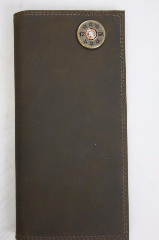 ZEP-PRO 12 gauge SHOTGUN SHELL Crazy Horse Leather LONG Roper WALLET Tin Box