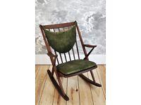 Vintage Retro 60's Frank Reenskaug / Bramin Rocker Rocking Chair in Walnut