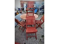 Garden set of table + six folding chairs