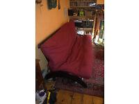 futon sofa bed, black frame