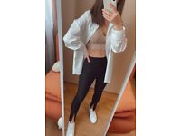 Ladies Slim Fit High Waist Pencil Trousers with Split Front