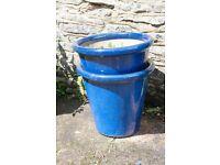 Blue Ceramic outdoor plant pots.
