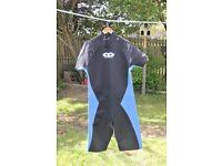 Men's Shortie Wetsuit, 3mm Neoprene, Size XXL, Black/Blue, Excellent Condition
