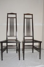 Unusual Pair Of Slim Antique American Stained Walnut Chairs. High Backs. c1900. Ideal For Hall. GC