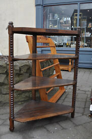 victorian solid oak shelving unit corner unit