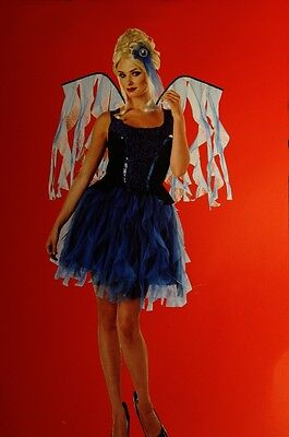 Girls Teen Blue Black Midnight Glitter Fairy Halloween Costume Wings 8 10 12 NEW - Blue Fairy Halloween Costume