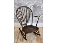 Vintage Retro Ercol Grandfather Rocking Chair / Rocker in Old Colonial mdl 315