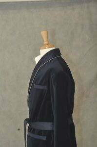 Mens-Smoking-Jacket-Navy-Navy-Shawl-Quilted-Shawl-Velvet-OAHD