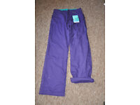 Girls/kids/childrens Purple Cotton Shore Trousers, with turn-ups. Age 13 BRAND NEW