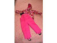 2 piece girl skiing suit/snowsuit, ski jacket & salopettes, 90-98 cm, 3-4 years old
