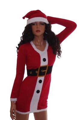 Womens Mrs Claus Ugly Christmas Sweater Party Dress Hat Plus Size 1X 2X 3X NEW - Plus Size Mrs Claus