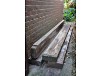 4x Wooden Sleepers. Lengths from 9ft to 9ft 9 ins (approx). Available singly