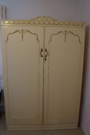 Vintage French/Louis style wardrobe in creme with golden details