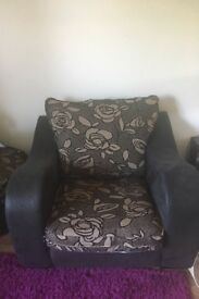 arm chair and pouffe £30