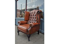 vintage chesterfield wing back armchair