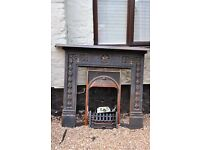 Victorian Style Cast Iron Fireplace Surround plus grate
