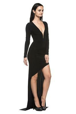 Black Sculptural Low V Neck Long Asymmetric Goth Evening Gown 236 mv Dress S M L