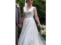 Beautiful Sacha James wedding dress, A-line, ivory satin with stunning applique design