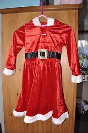 CHRISTMAS COSTUME GIRL SANTA DRESS COSTUME (AGE 4-6 YRS)