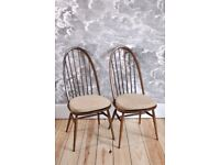 Set of 2 Vintage Retro Ercol Windsor Quaker Chairs (model 1875) in Golden Dawn