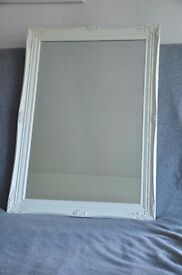 Large white wall mirror shabby french Baroque Antique chic swept frame mirror bevelled glass