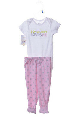 Carters Baby Girls 12 Months Easter Bunny Outfit Pants Shirt Pink White NEW