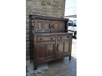 vintage retro ercol blue label solid elm dresser / sideboard / court cupboard