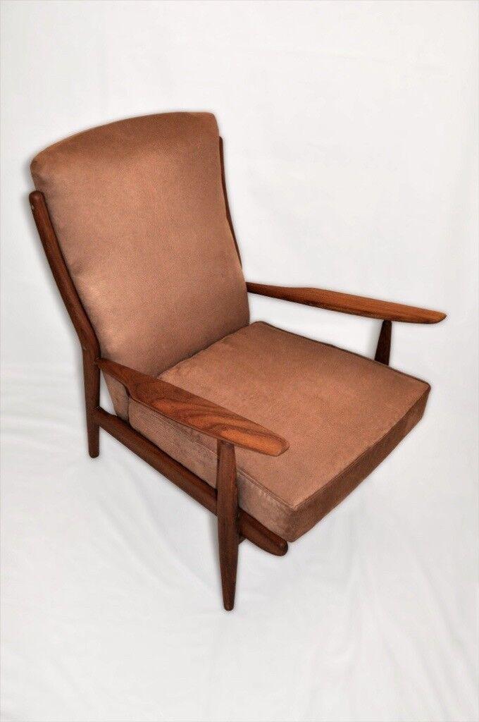 Vintage Retro 60s Scandart African Teak Afromosia Armchair - Danish Wegner Style - Fully Renovated