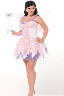 New Coquette Women Halloween Party Dress Pink Fairy Nymph Costume Plus size  - Plus Size Fairy
