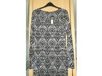 Dorothy Perkins Aztec black/white dress, size 12, brand new!!!