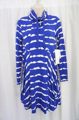 Kensie Dress Sz XS Striking Blue White Tie Dye Viscose Terry Long Sleeve Casual  - Terry Tie Dye