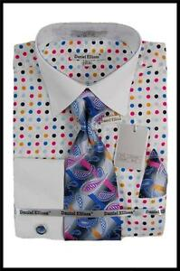 New Daniel Ellissa White Collar French Cuff PolkaDot Dress Shirt,Tie Black,White