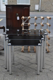 modern chrome black glass and chrome nest of tables