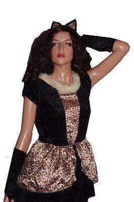 Girls Kitty Kitten Cat Leopard Halloween Costume XL 14 16 Purim Dress Ears  NEW