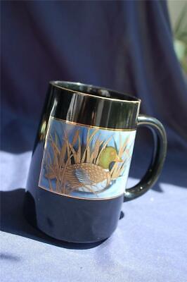 Golden Pond Duck (Mallard Duck in Pond Design Black & Gold Ceramic Coffee Mug Otagiri Japan Birds )