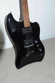 Dearmond Jet Star electric guitar, black twin humbuckers made in Indonesia