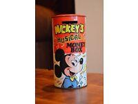 Walt Disney Vintage Red Mickeys Musical Money Box Made In England 1970s