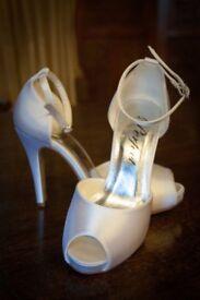 Pure white bridal wedding shoes size 3
