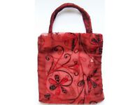 Beautiful Deep Red, Decorated, Large, Organza Bags with Rolled Handles for Christmas & Parties