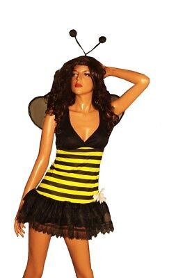 Womens Sexy Bumblebee BEE Wasp Hornet Halloween Purim Costume Wings  S L NEW (Bee Costume Womens)