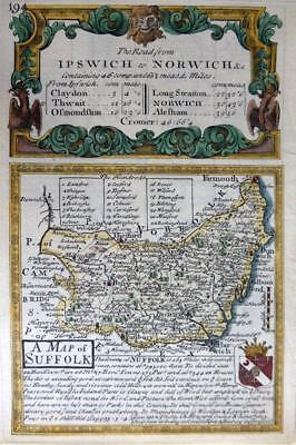 SUFFOLK  IPSWICH BY EMANUEL BOWEN GENUINE ANTIQUE MAP c1720