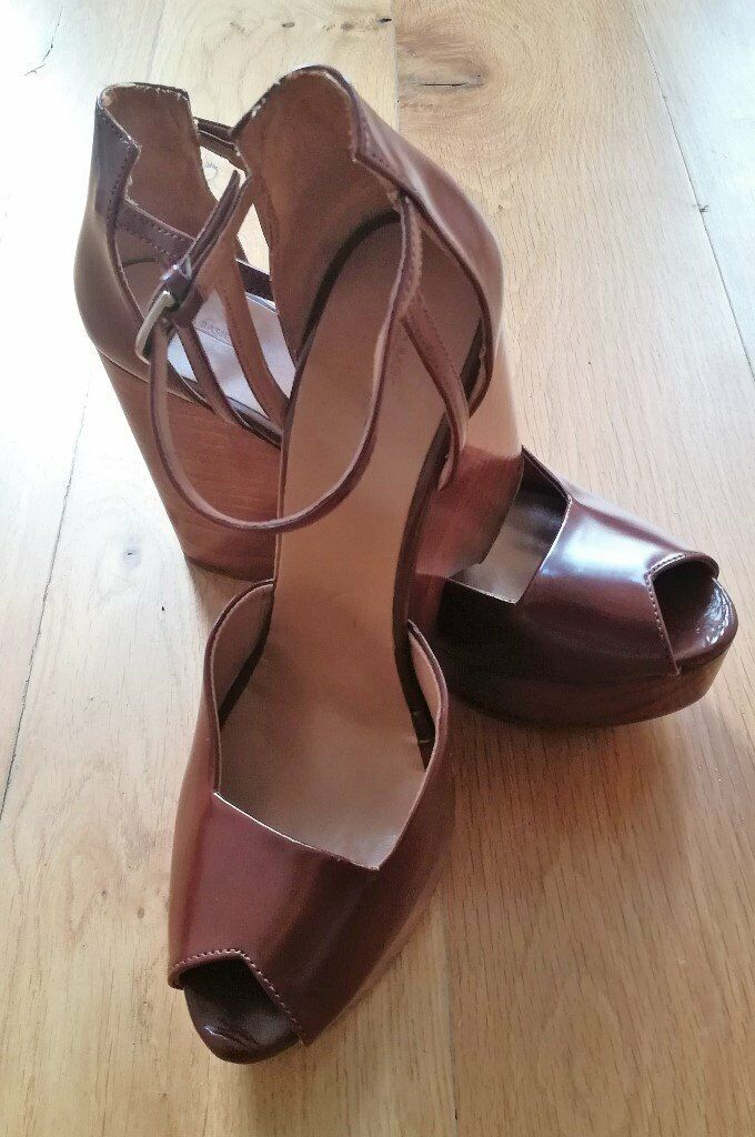 b23bb4d85b ZARA DESIGNER BOHEMIAN BOHO Wedges Wooden Heel Peep Toe Tan Brown High Heel  Wood Strappy Size 41